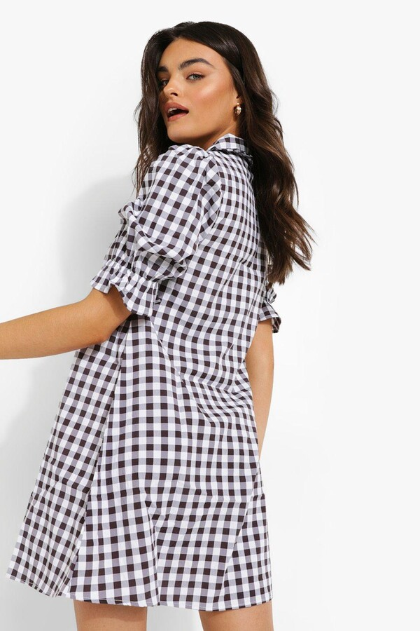 Thumbnail for your product : boohoo Gingham Collared Shift Dress