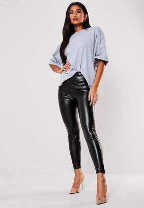 Missguided Tall Black Faux Leather Pin Tuck Leggings