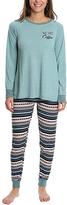 Aqua Frost Fair Isle 'But First, Coffee' Jogger Pajama Set - Plus Too
