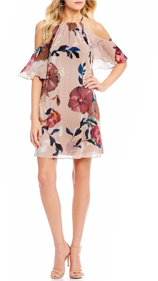 Trina Turk Seraphima Floral Cold Shoulder Shift Dress
