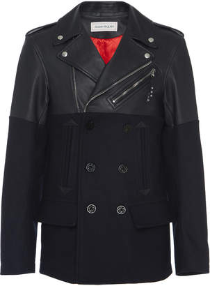 Alexander McQueen Leather-Paneled Wool Peacoat Size: 50