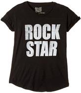 The Original Retro Brand Kids - Rock Star Short Sleeve Cotton Slub Rolled Sleeve Tee Girl's T Shirt