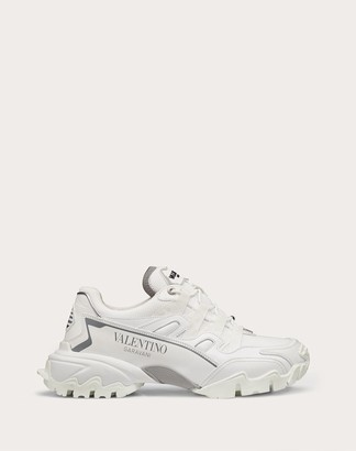 Valentino Climbers Sneaker In Fabric And Calfskin Leather Women White Polyamide 100% 35