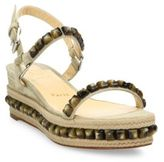 Christian Louboutin Cataclou Studded Suede Espadrille Platform Sandals