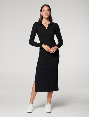 Forever New Parker Long-Sleeve Rib Polo Dress - Black - 10