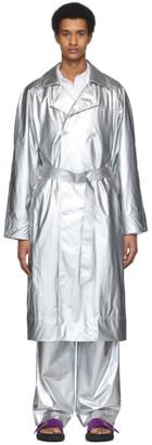 Tibi Silver Nylon Metallic Trench Coat