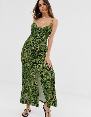 Asos Design DESIGN button through maxi dress in green animal print-Multi