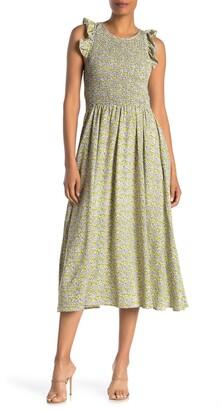 MelloDay Smocked Cap Sleeve Maxi Dress