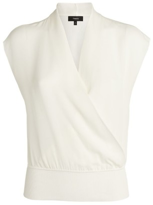Theory Sleeveless Silk Wrap Top