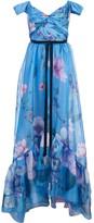 Marchesa Floral Print Organza Gown