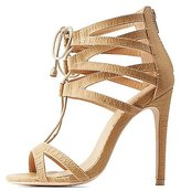 Charlotte Russe Caged Lace-Up Dress Sandals