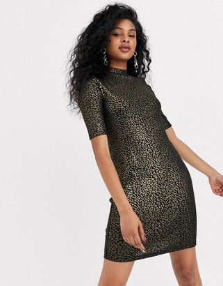 Noisy May short sleeve leopard print dress-Black