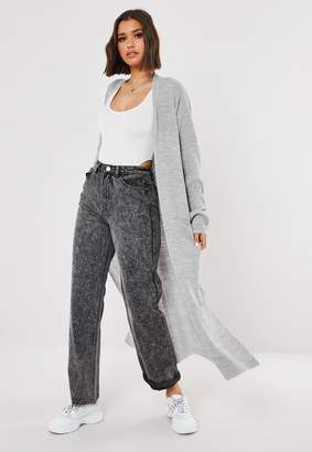 Missguided Grey Lightweight Knitted Maxi Cardigan