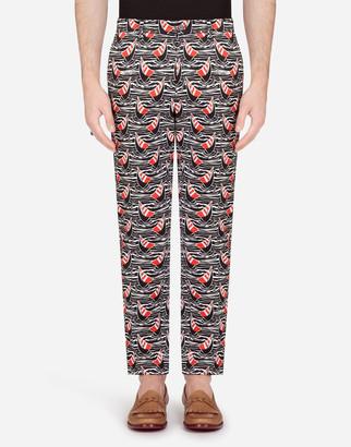Dolce & Gabbana Cotton Stretch Pants In Sailboat Print