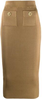 Balmain High-Waisted Knit Skirt
