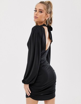 ASOS DESIGN drape cowl mini dress with tie back and cutout detail