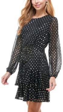 City Studios Juniors' Metallic Dot Fit & Flare Dress