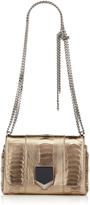 Jimmy Choo LOCKETT PETITE Gold Metallic Ostrich Leg Shoulder Bag