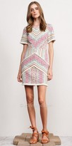 Adelyn Rae Short Sleeve Fringe Jaylene Jacquard Dress