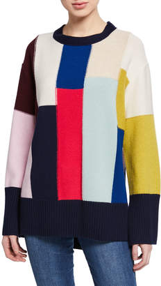 St. John Patchwork Wool/Cashmere High-Low Sweater w/-Sleeve Slits