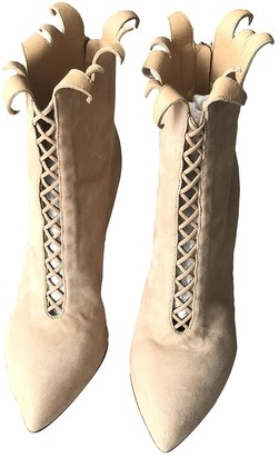 Francesco Russo Beige Suede Ankle boots