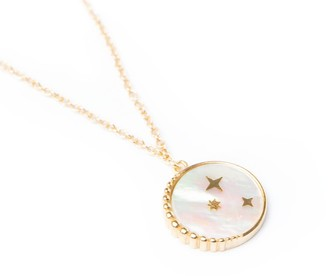 Mother of Pearl 18Ct Gold Vermeil Medallion Necklace