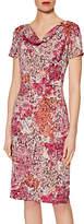 Gina Bacconi Lace Effect Print Jersey Dress, Peach/Pink