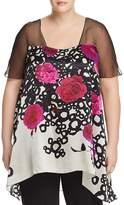 Marina Rinaldi Fanny Floral-Print Silk Top