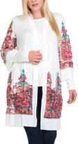 Bellino White & Rose Abstract Open Cardigan - Plus