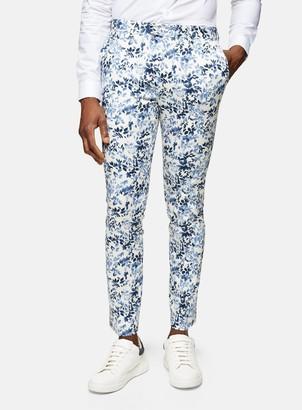 Topman Grey Floral Print Skinny Fit Suit Trousers