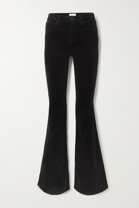 L'Agence Bell Stretch Cotton-blend Velvet Flared Pants - Black