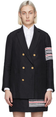 Thom Browne Navy Sack 4-Bar Double-Breasted Blazer