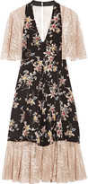 Anna Sui Paneled Printed Silk Crepe De Chine And Lace Dress - US8