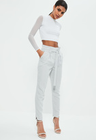 Missguided Grey Paperbag Waist Cigarette Trousers