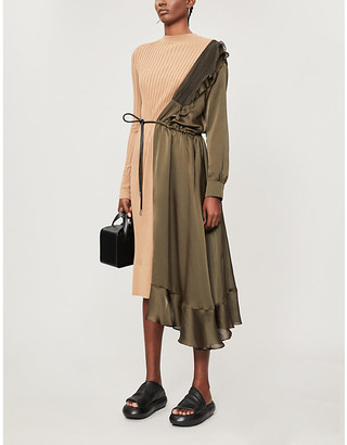 Sacai Pleated cotton-knit and satin midi dress