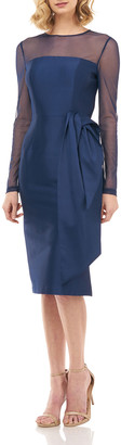 Kay Unger New York Serafina Long-Sleeve Mikado Sheath Dress w/ 3D Fold-over Bow