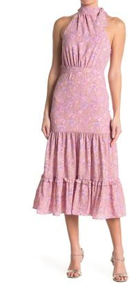 LIKELY Mona Floral Halter Tie Sleeveless Midi Dress