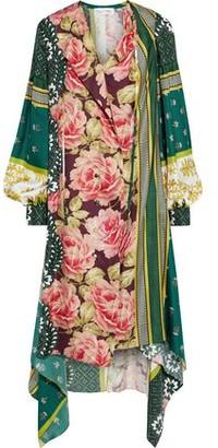 Oscar de la Renta Asymmetric Printed Silk-twill Dress