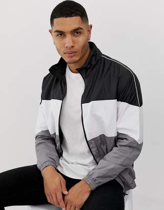 Bershka color block windbreaker with white piping