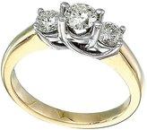 Direct-Jewelry 14k Yellow Gold 0.75 Ct Three Stone Trellis Diamond Ring (Size 9.5)