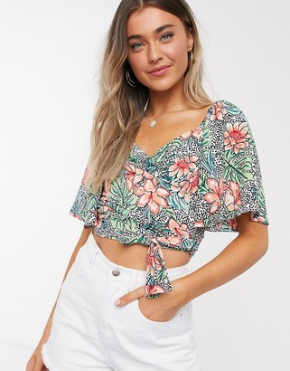 Outrageous Fortune tie front puff sleeve crop top in tropical floral print