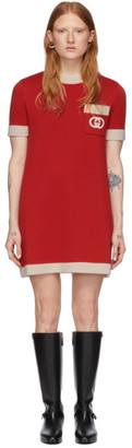 Gucci Red Wool Knit GG Dress