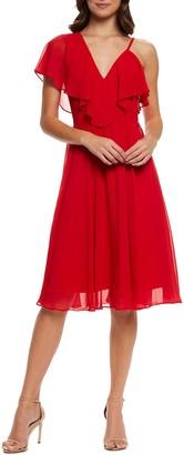 Dress the Population Claudia Asymmetrical Ruffle Sleeve Dress