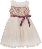 Rare Editions Embroidered Satin & Mesh Dress, Baby Girls (0-24 months)