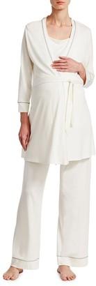 Cosabella 3-Piece Bella Maternity Robe, Camisole, & Pants