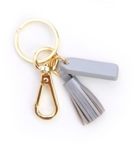 ROYCE New York Leather Mini Tassel Key Fob with Gold Hardware