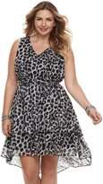 Plus Size Jennifer Lopez High-Low Ruffle Fit & Flare Dress
