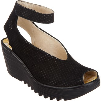 Fly London Perforated Leather Wedge Sandals - Yala Perf