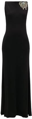 Alexander McQueen Embellished Bateau-neck Jersey Gown - Womens - Black