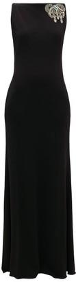 Alexander McQueen Embellished Boat-neck Jersey Gown - Womens - Black